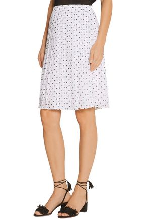 THEORY Lewdill pleated polka-dot silk-georgette skirt