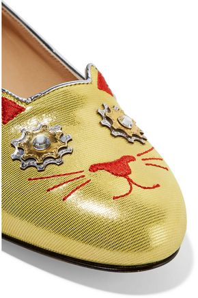 CHARLOTTE OLYMPIA Mechanical Kitty metallic embellished embroidered suede slippers