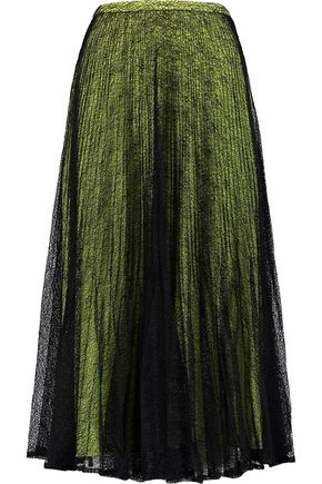 RAOUL Pleated crocheted skirt