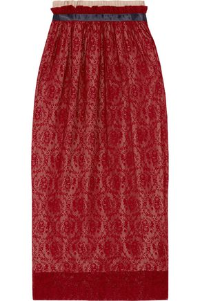 MOTHER OF PEARL Eloise pleated lace midi skirt
