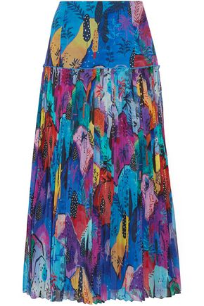 MATTHEW WILLIAMSON Maraval Hills pleated printed silk-chiffon midi skirt