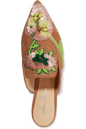 ISA TAPIA Fran embellished suede slippers