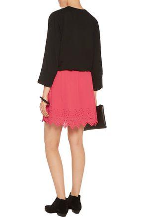 IRO Flynn broderie anglaise-trimmed crepe mini skirt