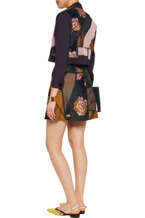 ROKSANDA Hidaka jacquard, felt, twill and organza mini skirt