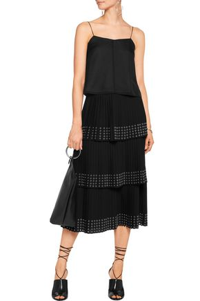 MICHAEL KORS COLLECTION Eyelet-embellished pleated crepe midi skirt