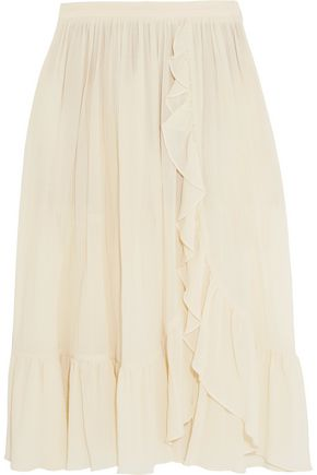 MICHAEL KORS COLLECTION Ruffled crinkled-cotton skirt
