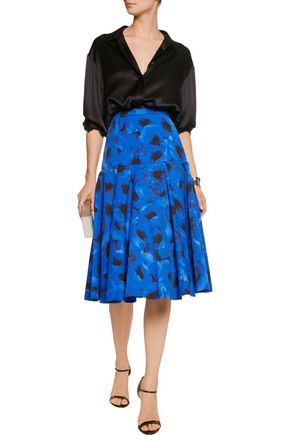 MICHAEL KORS COLLECTION Fluted floral-print cotton and silk-blend skirt