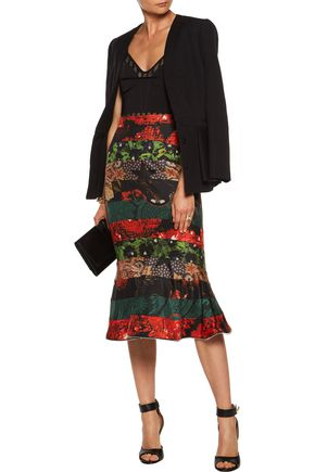 GIVENCHY Zip-embellished paneled printed silk-satin twill skirt