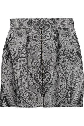 BALMAIN Pleated brocade mini skirt