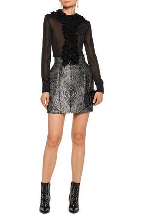 BALMAIN Pleated brocade mini skirt