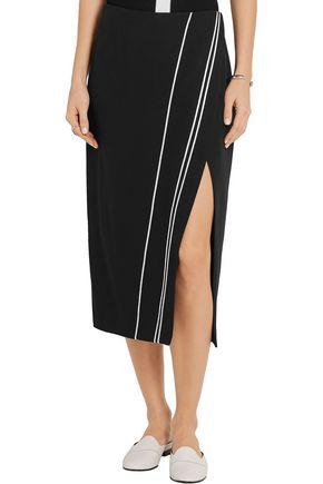 LA LIGNE Wrap-effect satin-trimmed cady skirt