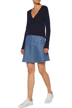 VANESSA SEWARD Banjo washed-denim mini skirt