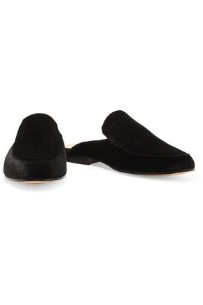 IRIS AND INK Lois suede point-toe slippers