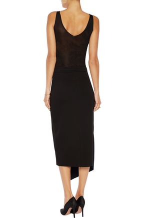IRIS & INK Wrap-effect two-tone stretch-jersey midi skirt