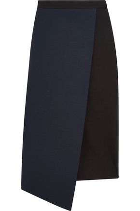 IRIS AND INK Wrap-effect two-tone stretch-jersey midi skirt