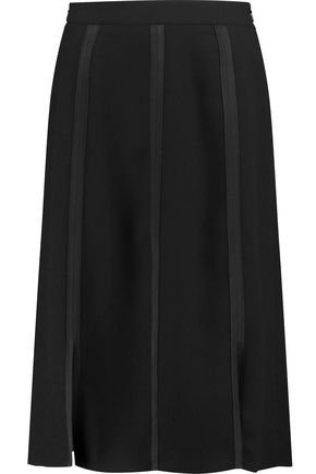 IRIS & INK Queenie satin-trimmed paneled crepe skirt
