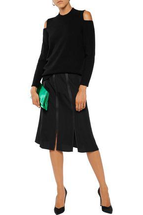 IRIS & INK Queenie satin-trimmed paneled crepe skirt