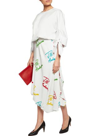 J.W.ANDERSON Asymmetric printed stretch-crepe midi skirt