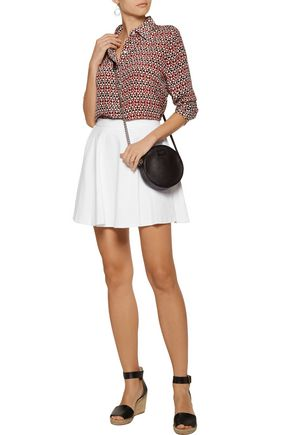 ALICE + OLIVIA Blaise Trapeze pleated cotton-blend twill mini skirt