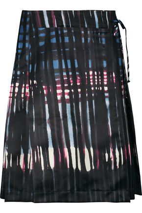 TOMAS MAIER Pleated printed twill wrap skirt
