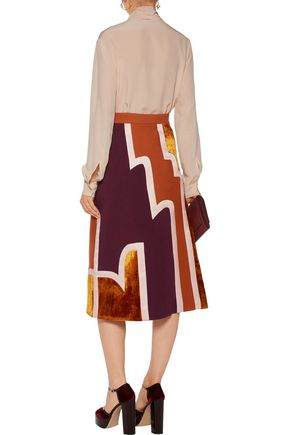 ROKSANDA Takuya paneled velvet and silk-blend twill midi skirt