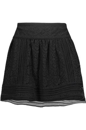 JOIE Darby pleated corded lace mini skirt