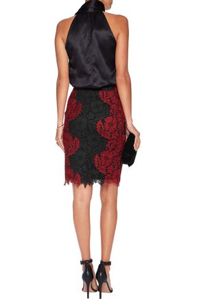 ALICE + OLIVIA Farrel guipure lace skirt