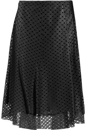 THEORY Bhima laser-cut leather skirt