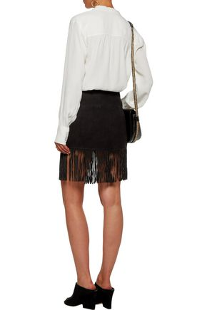 JOIE Lozita fringed suede mini skirt
