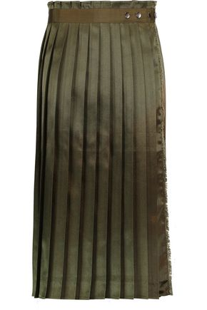 IRIS & INK Nico pleated satin wrap skirt