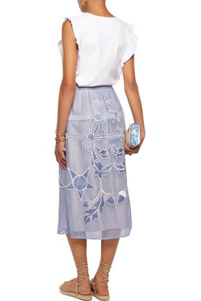 TEMPERLEY LONDON Dinah embroidered woven midi skirt