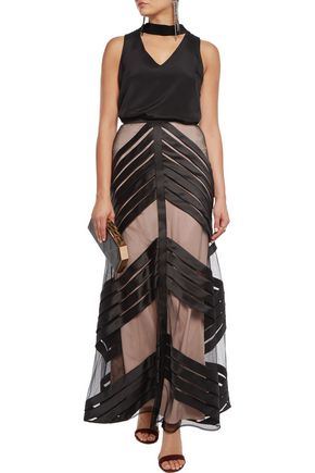 TEMPERLEY LONDON Lilith pleated tulle-paneled satin maxi skirt