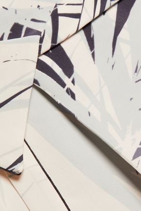 HALSTON HERITAGE Printed wrap-effect crepe skirt