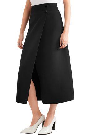 JOSEPH Ferdi wrap-effect crepe midi skirt
