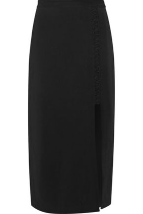 A.L.C. Steve silk-trimmed lace-up stretch-crepe midi skirt