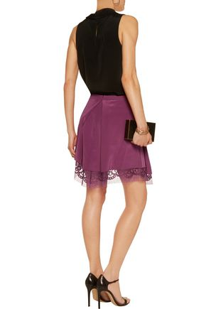 MICHELLE MASON Wrap-effect lace-trimmed silk mini skirt