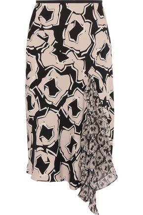 DIANE VON FURSTENBERG Posey paneled printed silk-blend crepe midi skirt
