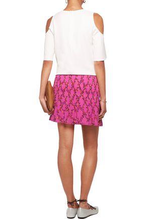 DIANE VON FURSTENBERG Tayte printed pliss&eacute-chiffon mini skirt