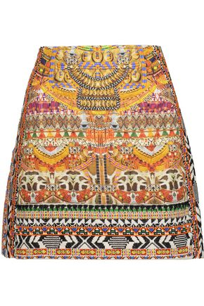 CAMILLA Embellished embroidered quilted printed cotton mini skirt