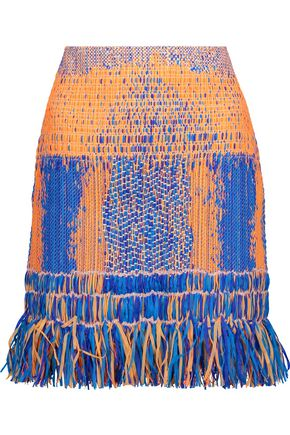 CAMILLA Raffia fringed cotton-blend mini skirt