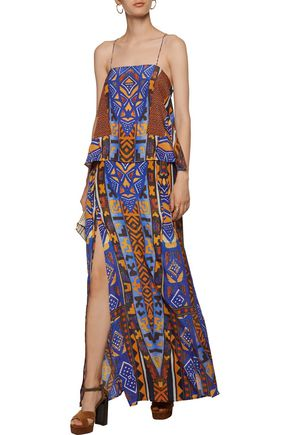 CAMILLA Layered printed silk-chiffon maxi skirt