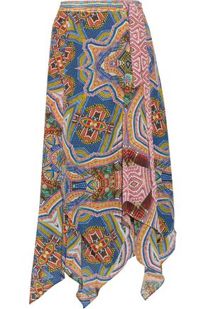 CAMILLA Layered printed silk-voile midi skirt