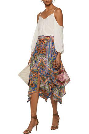 CAMILLA Layered printed silk-voile midi skirt
