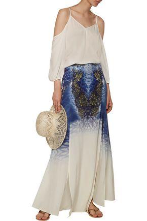 CAMILLA Printed silk crepe de chine maxi skirt