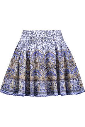 CAMILLA Embellished pleated printed cotton-blend mini skirt