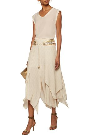 CAMILLA Embellished tie-front layered printed voile midi skirt