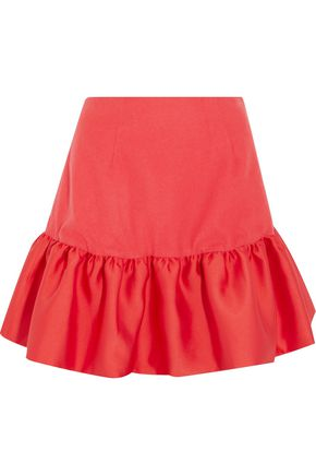 PAPER London Acere satin-trimmed wool-blend mini skirt