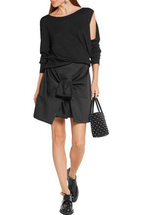 PAPER London Elvira tie-front cotton-twill mini skirt
