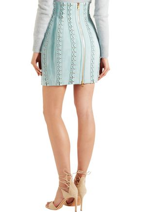 BALMAIN Lace-up suede mini skirt