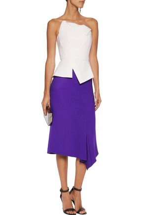ROLAND MOURET Reed asymmetric textured-wool skirt
